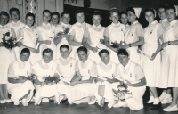 1957, a graduation photo, the witness is third from top left