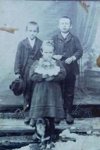 Her mum Anna Filipova with her brothers Emil and Wili