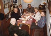 """""""Besedníci kunštátští"""" in 1995, from left - Jiřina Kunderová, the father of the witness, Zdeněk Čecháček (Theatre X), Ludvík Kundera, witness´ mother, and Rudolf Vévoda"""