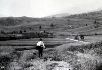 Jiří Langer / putování 1957 / senoseč v Zuberci / Slovensko