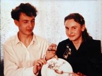 Jiří Langer / snímek ze svatby s manželkou Jaroslavou Langerovou / 29. prosince 1958
