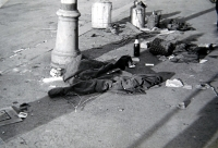"Jiří Langer / end of war / destroyed baricade near the ""Kulaťák"" square in Dejvice / Prague / May1945"