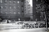 "Jiří Langer / end of war / destroyed baricade near the ""Kulaťák"" square in Dejvice / Prague / May 1945"