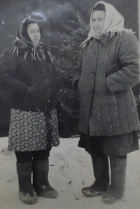 Nadija Andrijivna on the left with her friend