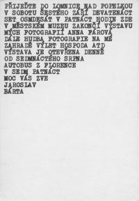 Pozvánka na výstavu v Lomnici nad Popelkou, polovina 80. let