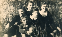During the war: a friend above, below her Zofia and her two sisters, nephew