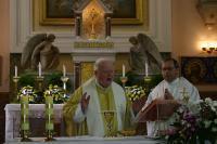 P. František Adamec při slavení mše svaté v Římskokatolické farnosti Vacenovice při oslavě 60 let svého kněžství.