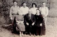 The Schreiber family. From right Václav, Josef, Marie and Zdeněk. From left the mother Anna, father Josef and Anna Schreiberová