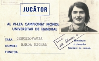 Accreditation card from the 1975 World University Games in Romania