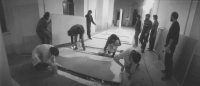 Preparation of an exhibition 9&9 in the cloister of Plasy in 1981
