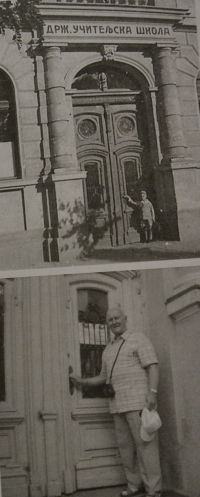 Václav Martínek at the entrance to the primary school in 1934 and in 2008
