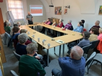 Evžen Adámek lectures at the Club of Active Seniors on the activities of the Regional Charity in Znojmo