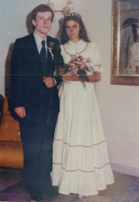Evžen and Hana Adámek at wedding photo 1 September, 1984