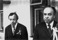 Father Josef Adámek on left and uncle Václav Adámek