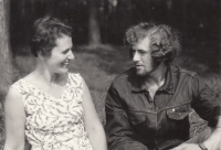 With her brother Petr, about 1970