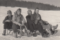 With her husband and their daughter Soňa (the sledge on the right) and two friends, 1957