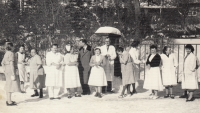 With colleagues from the sanatorium, circa 1960 (Miloslava Medová second from left)