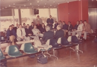 Bohemians at the airport in Columbia, the destination: Haiti, 1970s