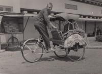 Josef Jelínek on a rickshaw, with Dukla in Jakarta, 1960s