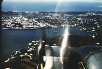 Aerial photography was Jan's lifetime passion. This photograph shows a stunning view of the right side of the B-24 flying low over Nassau.