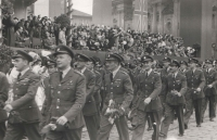 The Czechoslovak airmen marching in the parade