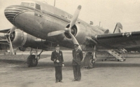 Jan (standing, on the left) loved the majestic and allegedly easy to fly DC-3 Dakotas