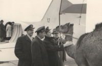 """Jan is supervising camels loading - or boarding? and he stopped to pet his """"old friends"""", possibly remembering the hard times in the sun-scorched Palestine.."""