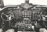 Inside the cocpkit of DC-4, the adapted version used by Swissair in 1946