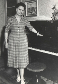 Blanka Bufková (née Lédlová) when still single and living with her parents where Iveta would live after the death of her grandparents, as a relative on the maternal side, until she moved to Plzen. Blanka, she was a gifted pianist but the times were bad and due to the political and social situation, she had to become a clerk. The photograph was taken in 1953 when she was 20.