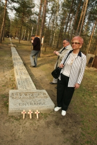 """Sagan - a memorial at the entrance to the tunnel. Mgr. Ivana Škavradová from Ostrava, widow of the general-major Zdeněk Škavrada, a faithful comrade in fight to Jan and then a fellow sufferer of Vilda Bufek when they were captured. No wonder that these tribulations reinforced friendships and the families would often visit each other. (Ivana tries to continue the tradition and """"Aunt Ivanka"""" is always there, although mostly on the phone due to the distances.)"""