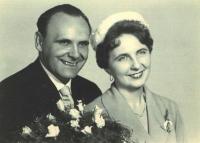Wedding photograph of Vilém and Blanka Bufek. 1961