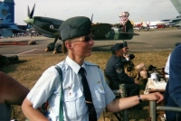 Iveta with other airplane enthusiasts at the airport in Hradec Králové a few years later
