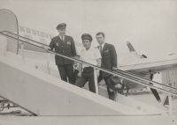 """Košice Airport. From the left: captain Irving, captain Čada, a """"native"""", and hiss first officer Jiří Zouhar. August 1976"""