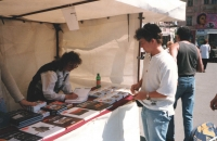 """Very rare snapshot from a book signing during the celebrations of the end of WWII in Plzeň in 2001. Ivana went on tour with the book along with the Taxmen band and other book presentations and signings were organised. They began in Rakovník and after a stop in Plzeň, they ended in Přeštice. """"Mom did all the driving and it was very tiresome for her but the experience was worth it! Moreover, nobody can take my memories away from me!"""""""