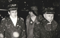 Neither snow nor rain nor heat nor gloom of night stays these airmen. The passengers nor the cargo would wait. Here is a snapshot from a night landing and cold oozes from the photograph.