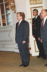 A rare photograph granted by the President's office after the President, Václav Havel, and Minister of Defense Luděk Dobrovský promoted major Jan Irving to the rank of colonel in 1990.