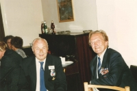 Another photograph from the memorial book, this time taken in the man hall of the villa in West Lane where the Czechoslovak National House was. Shown are Jan Irving and his friend and co-fighter from the 311th who lived in the Moravian town of Napajedla, colonel Stanislav Mikula. Behind them, engaged in a vively discussion, Mrs. Ljuba Knapová, wife of František Knap from the 311th Squadron and facing her, Blanka Irvingová.
