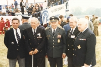 The first army air show in a free country in the modern history of Czechosolovakia at the Kbely airport on the 13th September, 1991. For the photograph, men from one crew assembled. From the left: Arnošt Polák, Rudolf Nedoma, Jan Irving, Ing. G. Shaw a Ivan Schwarz.