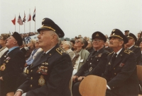 The first army air show in a free country in the modern history of Czechosolovakia at the Kbely airport on the 13th September, 1991. The airmen kept looking towards the sky where one airplane after another whizzed by. In the row behind colonel Irving, colonel Jirousek is standing. They knew each other from their studies and training in the army school in Prostějov.
