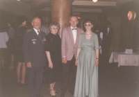 One of many airmen's balls in the Lucerna cultural centre. The tradition started soon after the Velvet Revolution and it is being continued, God be thanked, until these days. Here, Jan Irving took a photograph in front of the ball room. Shown are his good friend from the 311th, colonel Stanislav Mikula with his wife and son Vlastislav, and Iveta Irvingová.