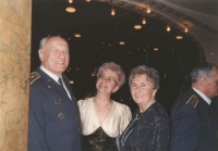 And airmen's ball in the Lucerna cultural centre (1998 or 1999) again, after general Irving's death, though. However, Iveta tried hard not to keep her mother mourning for too long so whenever an occasion arose, she would involve her in airmen's social events so that she would not dwell on sad thoughts. Also shown brigadier general Zdeněk Škarvada who is already deceased as well, his wife, and Blanka Irvingová. On the right, shown from side, Alois Konopický..