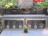 """The Irving family grave  at the Olšany cemetery in Prague. After her mom's death, Iveta got the plaques with names of family members made so that everyone could easily undestand the family connections. And as she says with """"dry English wit"""", """"The last spot behind the glass is waiting only for me. I don't know though, how I will get myself there when nobody from the close family is still alive..."""""""