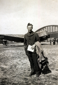 France in 1940 –  Istrès airfield. In the background, by the hangar, there is an MB-210 airplane