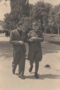 In the streets of Niš with Josef Vaníček (right). The different style of army uniforms is well visible on this photograph.