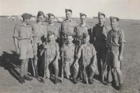 Group of soldiers, Jan's comrades in arms, from the 11th Czechoslovak Infantry Battalion – Eastern which Jan photographed as a souvenir. Second from left, at that time still as a private, Jiří Flak