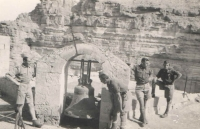 Ancient buildings around Nazareth. Jan is standing on the far left
