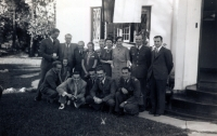 An unique photograph of the Czechoslovak pilots taken on the 19th of April, 1941, in the garden of the Czechoslovak embassy in Cape Tow. Far right, the Ambassador, Mr. Linhart with his family, and the employees of the consulate. At his right, second from left, Jan Irving, far left, J. Němeček. Front row, kneeling, from the left: J. Grič, J. Zdráhal, O. Žanta, A. Sedláček a Al. Keda.