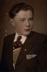 Coloured photograph of Jan as a student of middle school in Nýřany