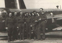 Irving's crew in front of a Wellington at the East Wretham base shortly after their lucky return from the Grantham base where they had had an emergency landing on the 8th May of 1942. Their relief is apparent. From the left: Al. Novák, front gunner; Jiří Böhm, tail gunner; Jan Irving, captain [of the aircraft]; František Švejdar, wireless operator; Josef Stach, second pilot; Josef Němeček, navigator.