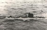 Closeup of a submarine